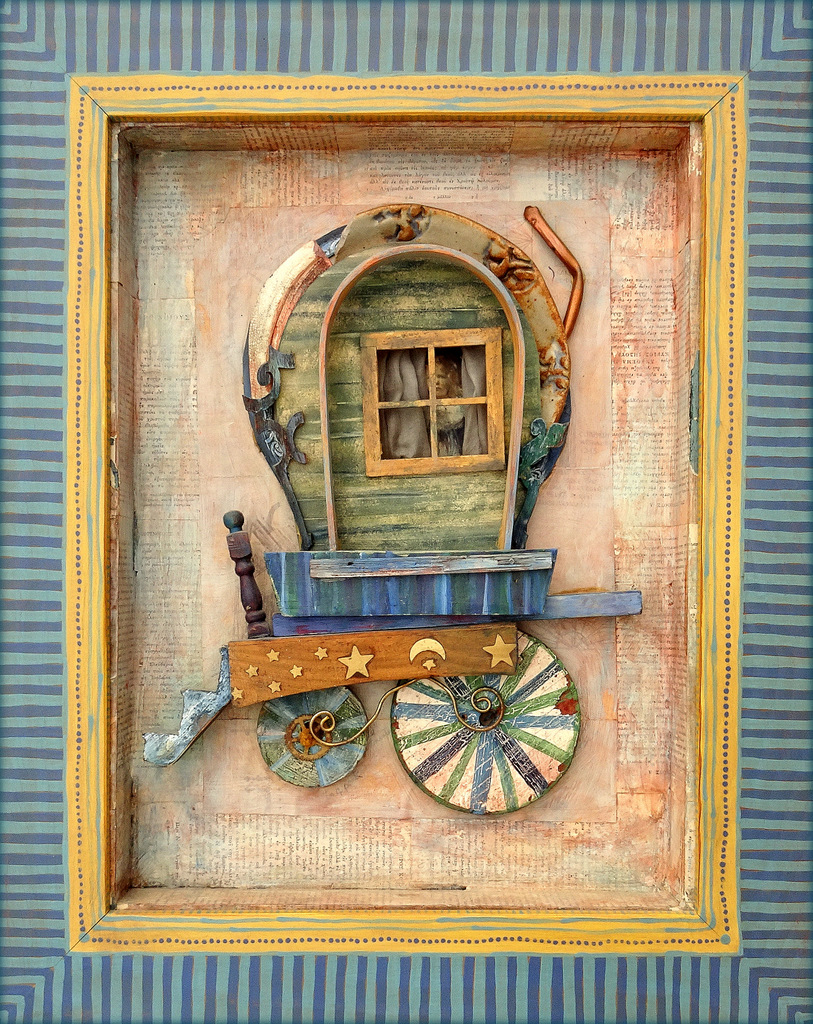 """""""GYPSY CARAVAN"""",  Mixed Media Wall Piece,  16x20"""",  Private Collection"""