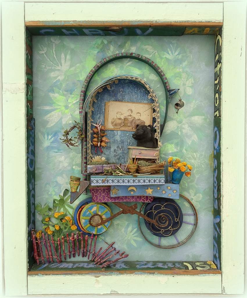 """""""THE HERBALIST"""",  Mixed Media Wall Piece,  18x24"""",  $725"""
