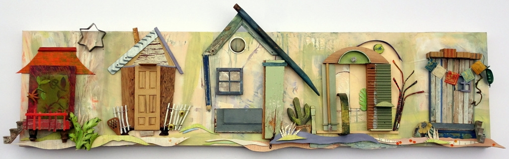 """""""NEIGHBORHOOD"""",  Mixed Media Wall Piece,  14x52"""",  Private Collection"""