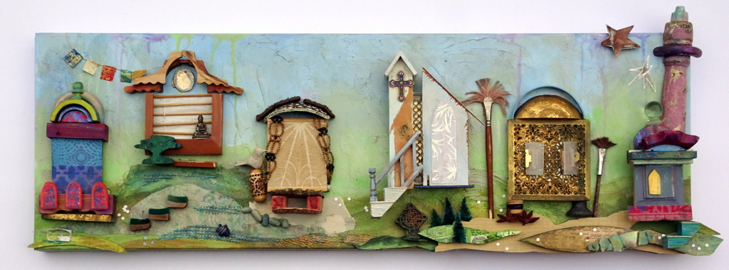 """""""HOUSES OF WORSHIP"""",  Mixed Media Wall Piece,  12x36"""",  $550"""