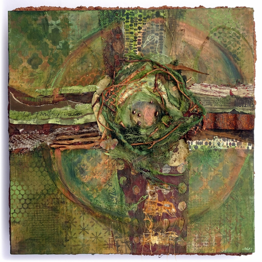 """CREATION CRUCIFIX"", Mixed Media Collage on Metal,  12x12"",  $425"