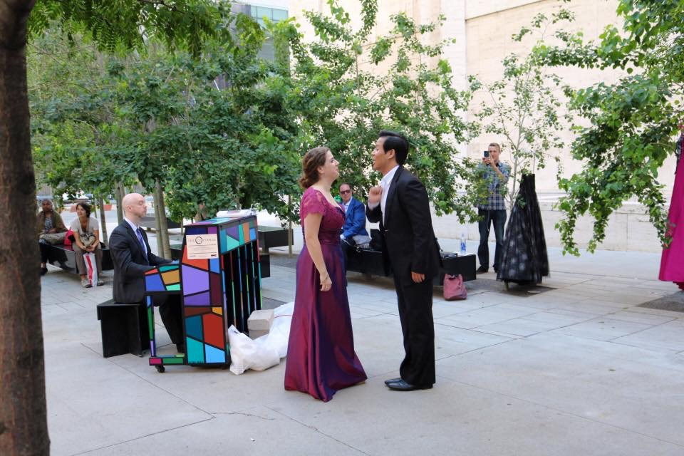 Photo credit: Suzanne Vinnik-Richards  From Sing for Hope, Opera Diva Dress Collection Outdoor Concert  With Suchan Kim and Keith Chambers, piano