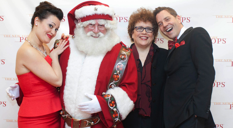 Above: Santa Claus with Ashley Brown, Judith Clurman and Steven Reineke. Photo: © Richard Termine