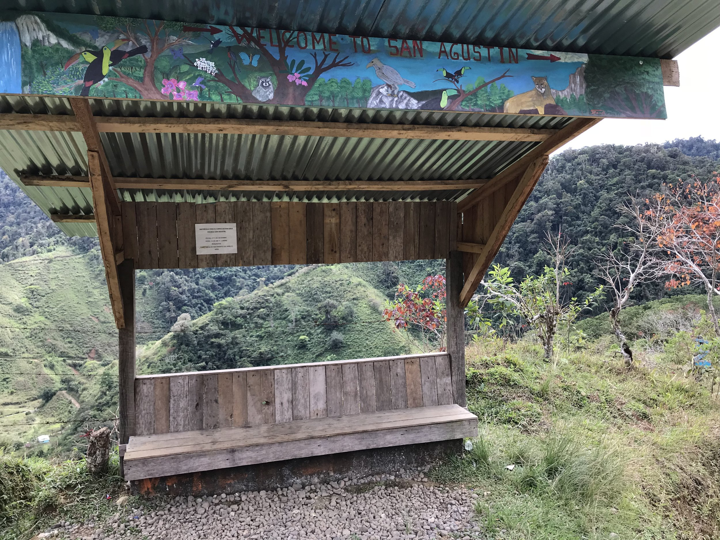 The Bus Shelter at La Cruse. Turn Right And You Will Arrive In 2Km! From San Jose to Turrialba by car or bus takes about 3 hours.   From Turrialba to Camping Vereh takes about 1 hour and 15 minutes.