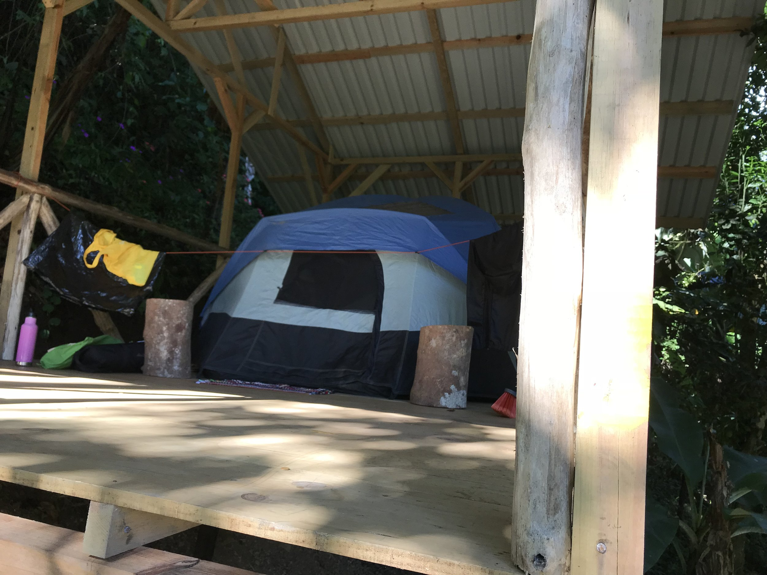 ECONOMY PACKAGE: Platform #3 holds 4 Campers in 2 Tents; $140/week for each camper, ( ¢78,700 colones). Bring you own Tents; (Gear, Meals Hikes, Transportation are not included.)(We can also rent Tents.)