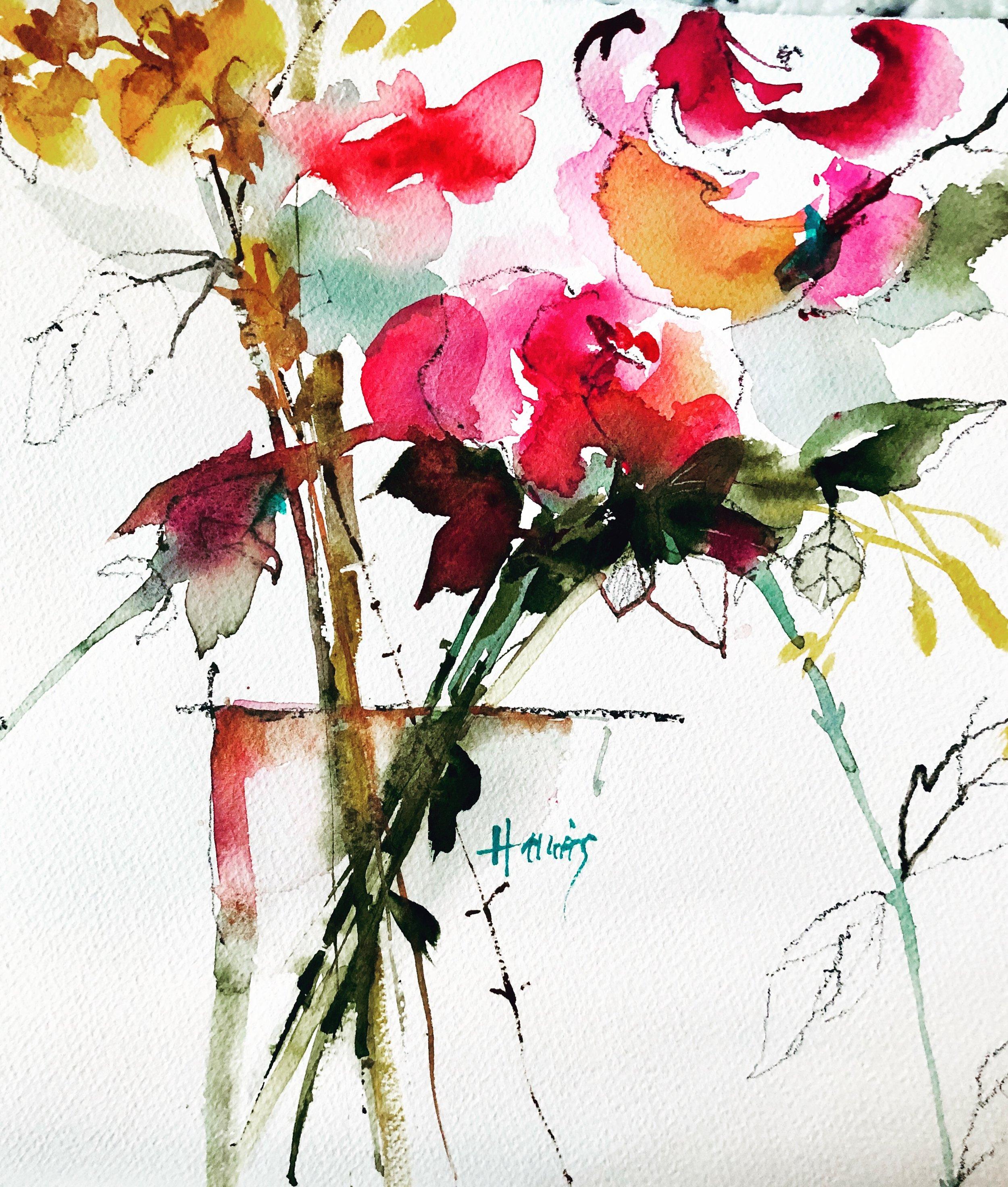"Charades, Original Watercolor, 12x12"""
