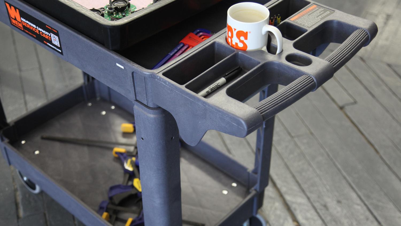 Shop service cart - Plastic construction is convenient & sturdy.