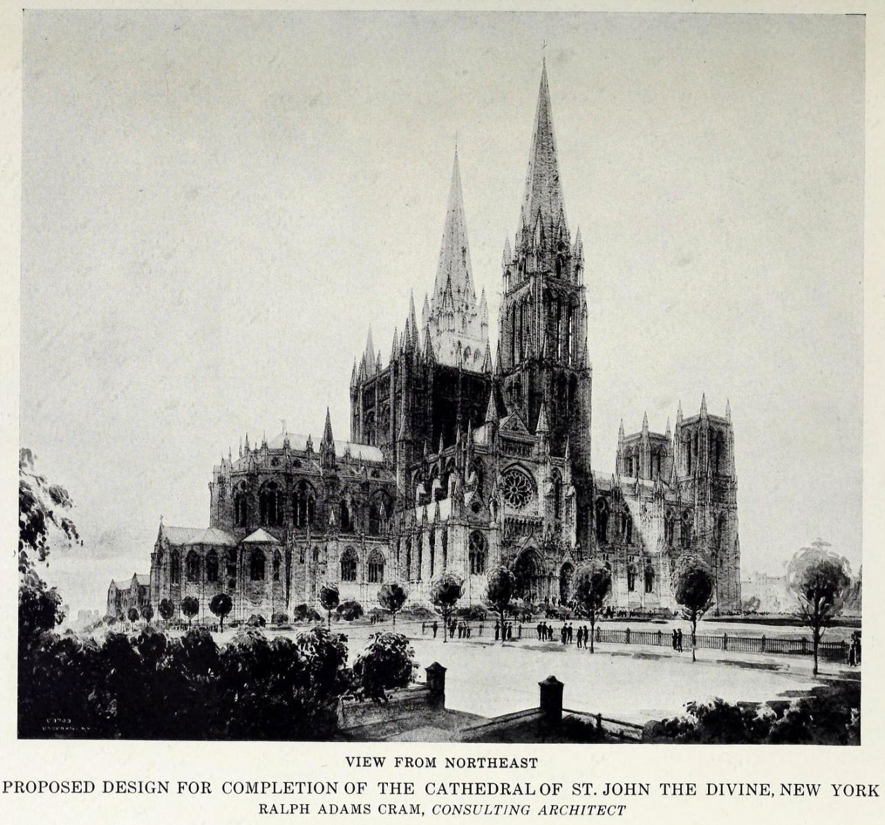 Gone Gothic: Cram's 1916 design for the cathedral - it would be the first of four iterations.