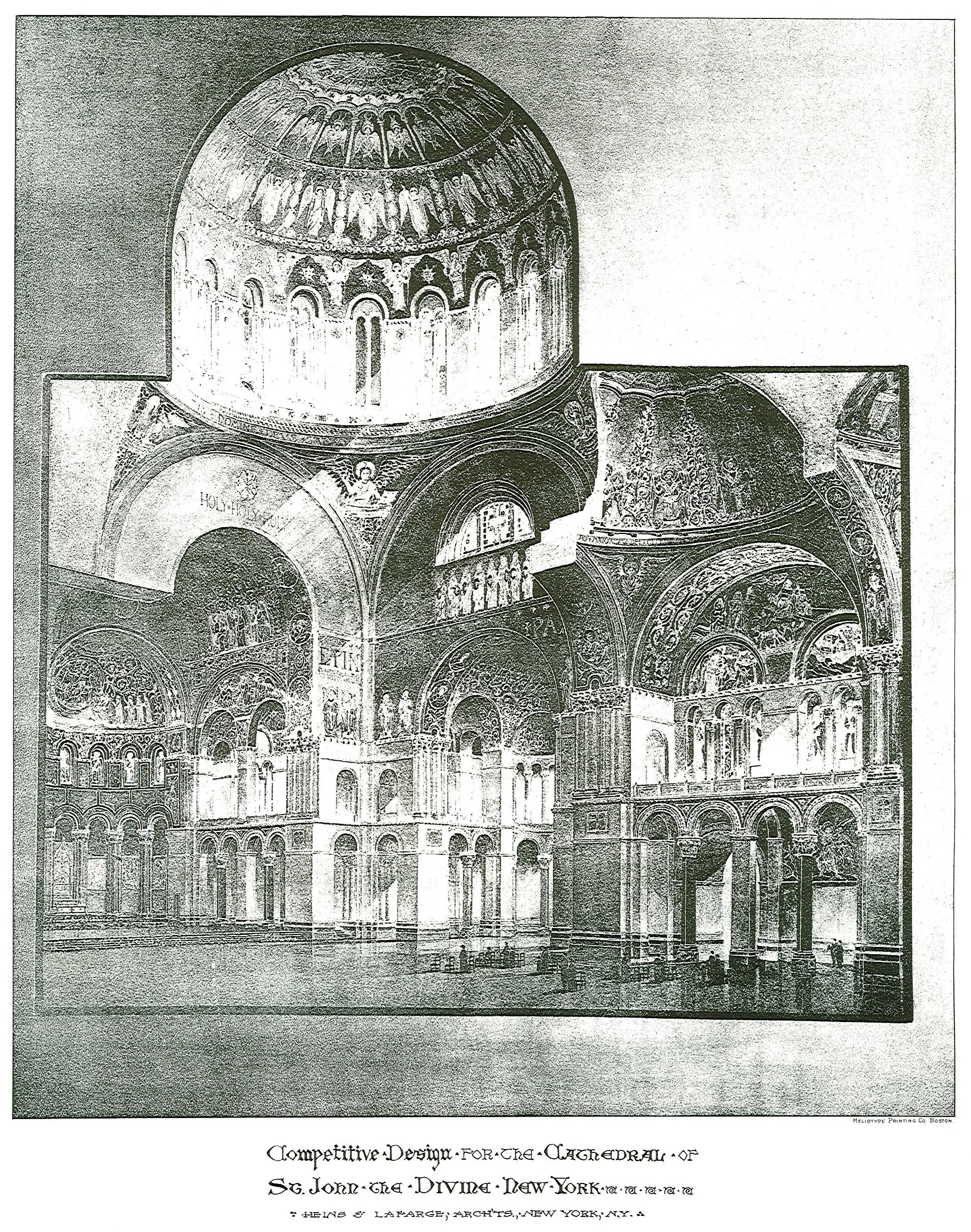 1892: This rendering from Heins & LaFarge's competition entry shows the crossing of St. John the Divine. The dome was to be just 10 feet shy in diameter of Hagia Sophia's.