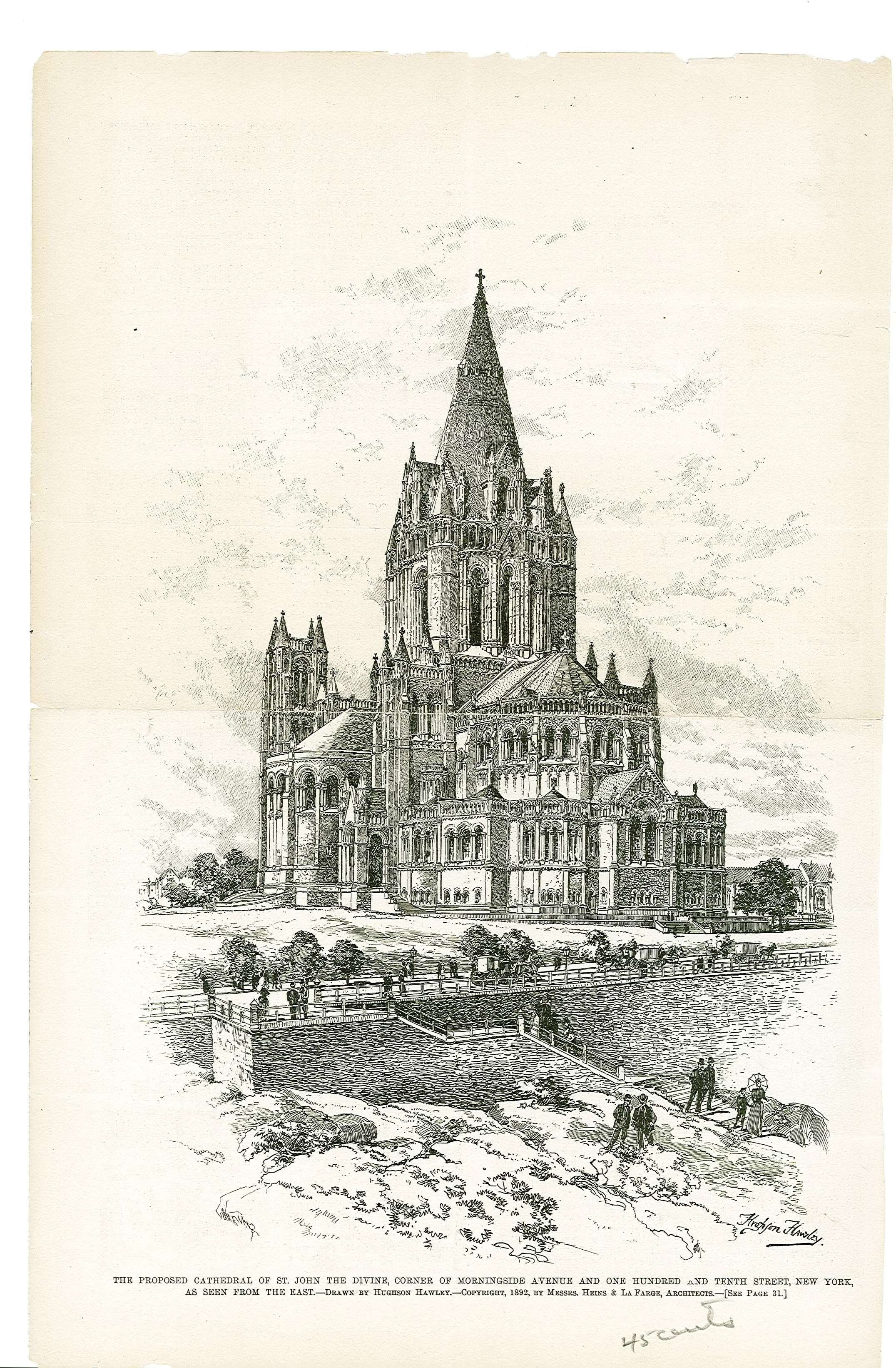 1892: Etching of St. John the Divine as designed by Heins & LaFarge from the edge of Morningside Park. Almost everything in the etching would not be built as drawn, including the south transept, back stairs and entrance where a barbed wire fence now faces onto Morningside Park. Credit: Episcopal Dioceses Archive of New York