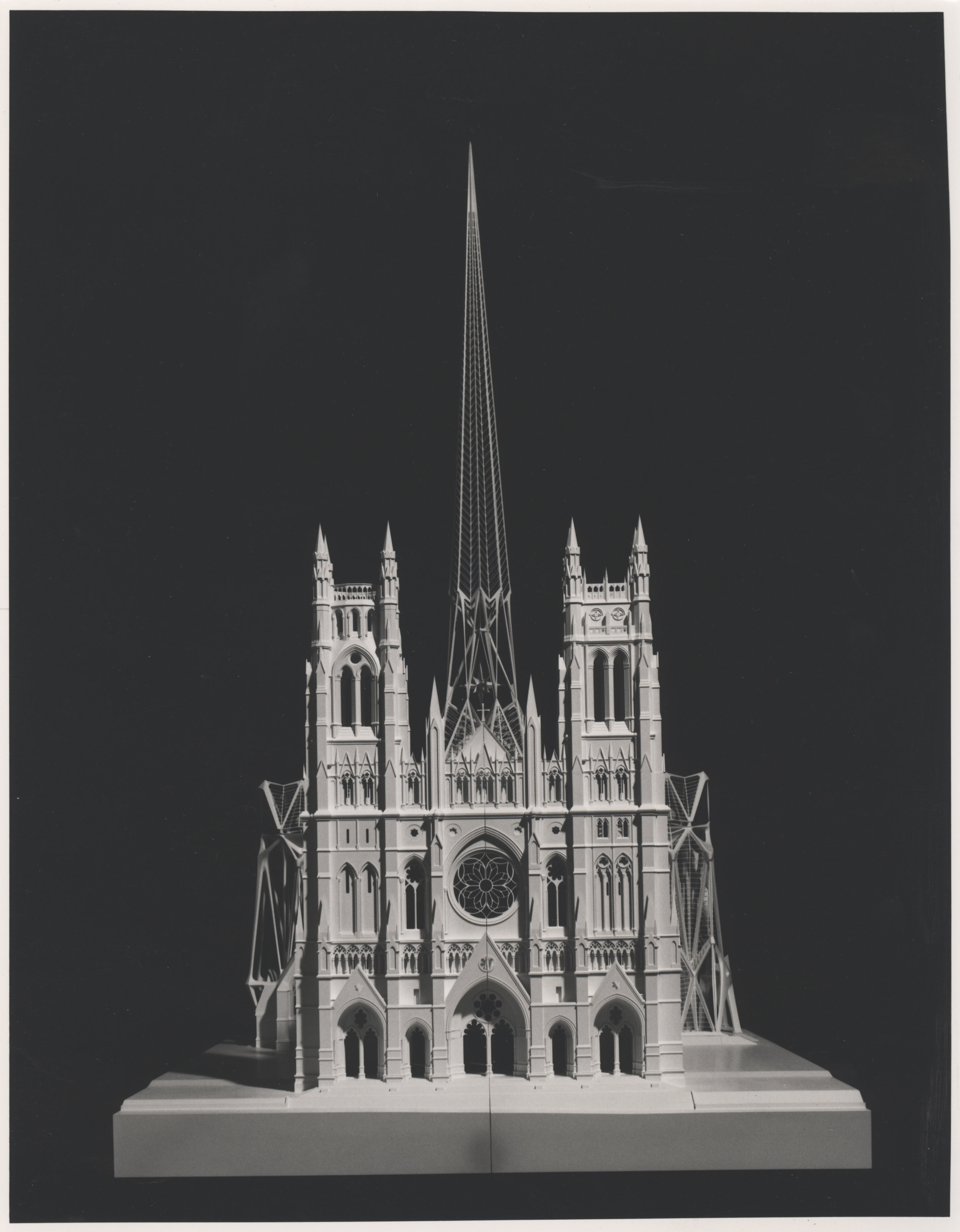 Calatrava's 1991 proposal featured a tensile spire across the parking, rib like Gaudi-esque north and south transepts and a greenhouse along the roof. Credit: Episcopal Diocese of New York Archives