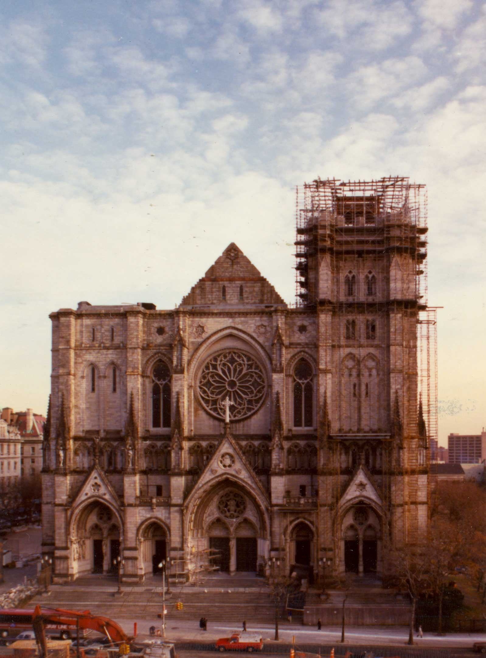 1990: The front facade, as designed by Cram, after a decade of stone work. Credit: Episcopal Diocese of New York Archives