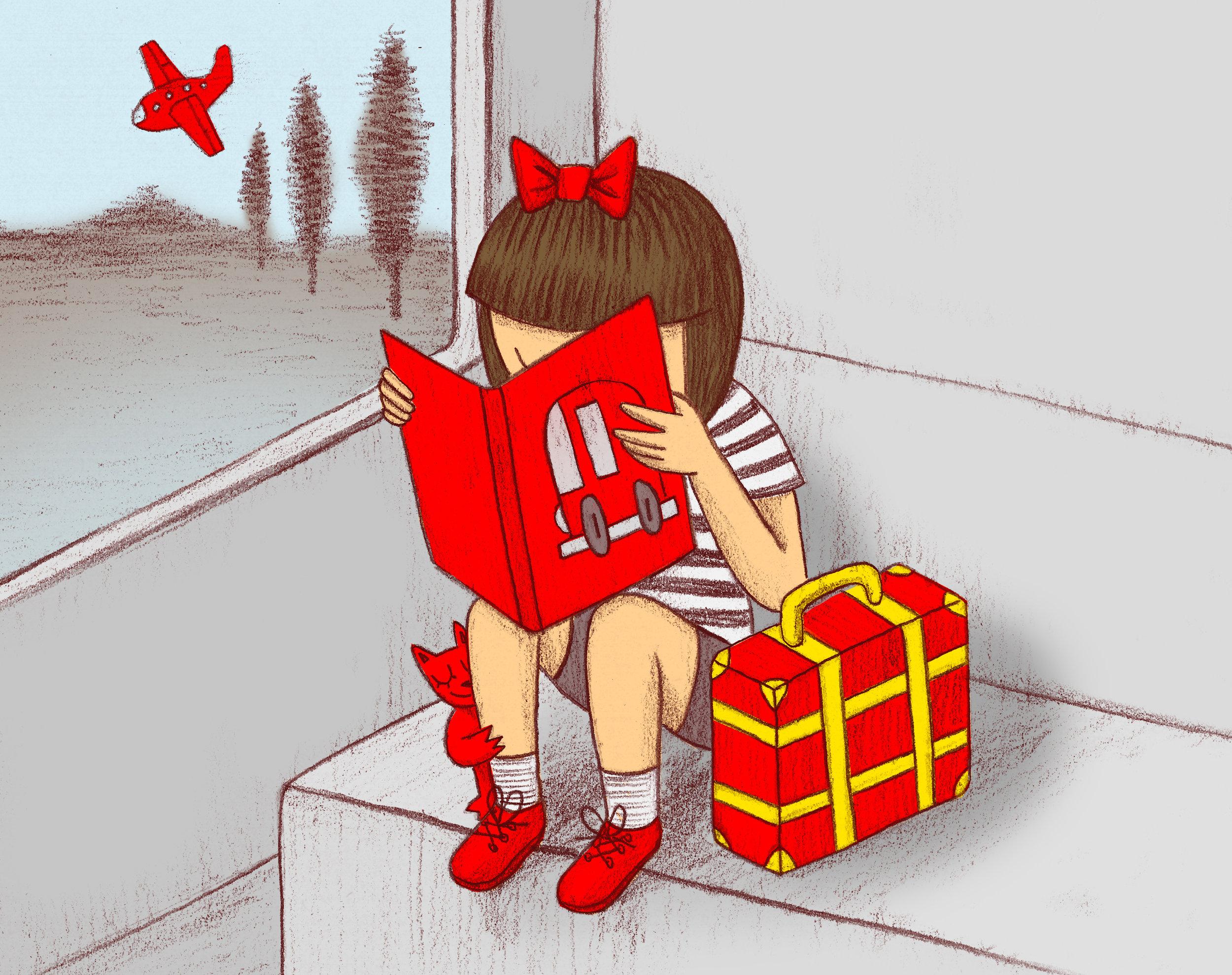 Je mets dans ma valise un livre rouge.