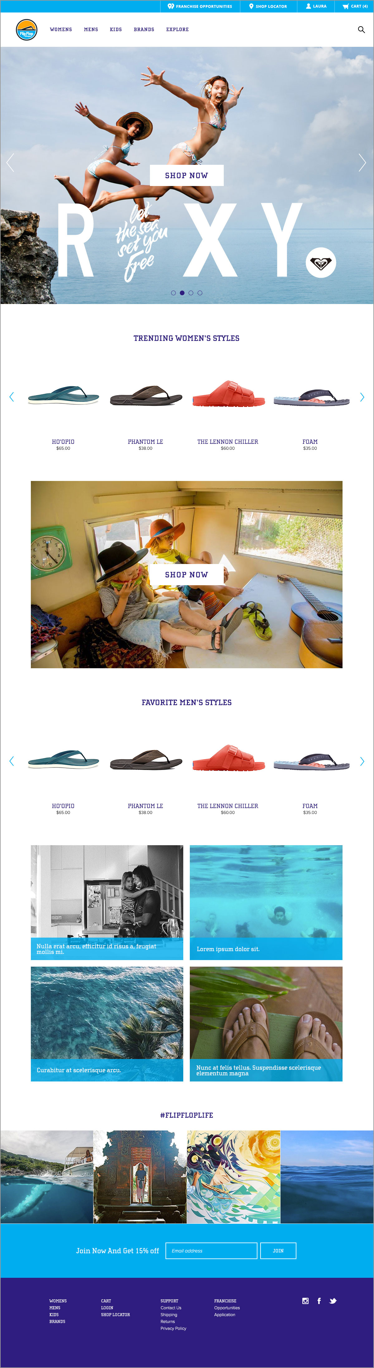 Flip Flop Shop home page example