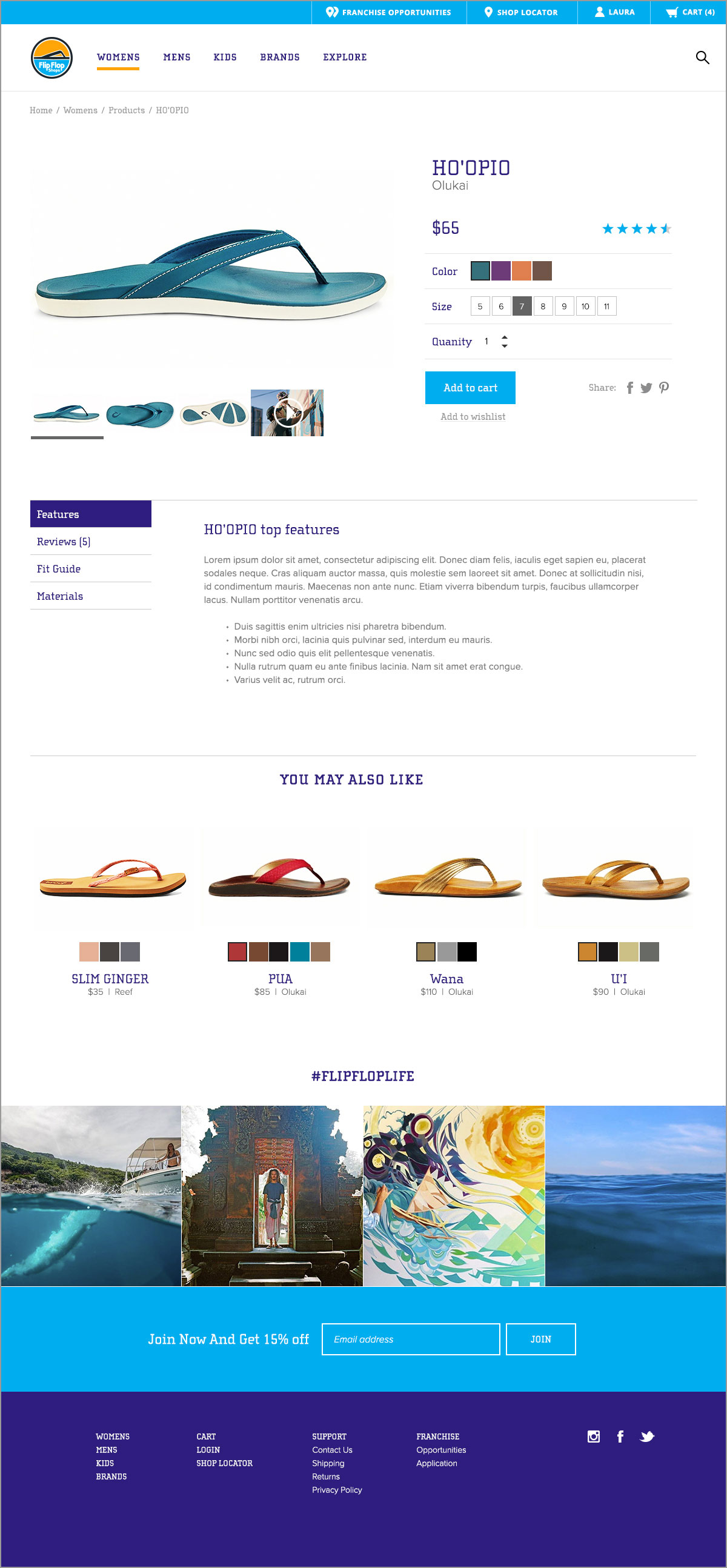 Flip Flop Shop product detail page example