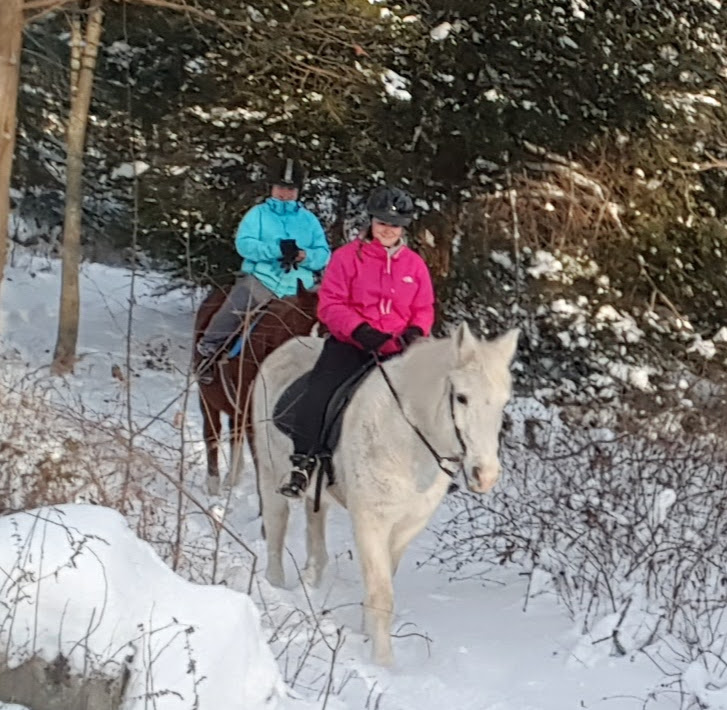 Riding in the snow.