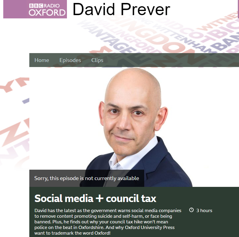BBC Radio Oxford - Charlotte speaks to David Prever about potential issues surrounding social media and self harm.