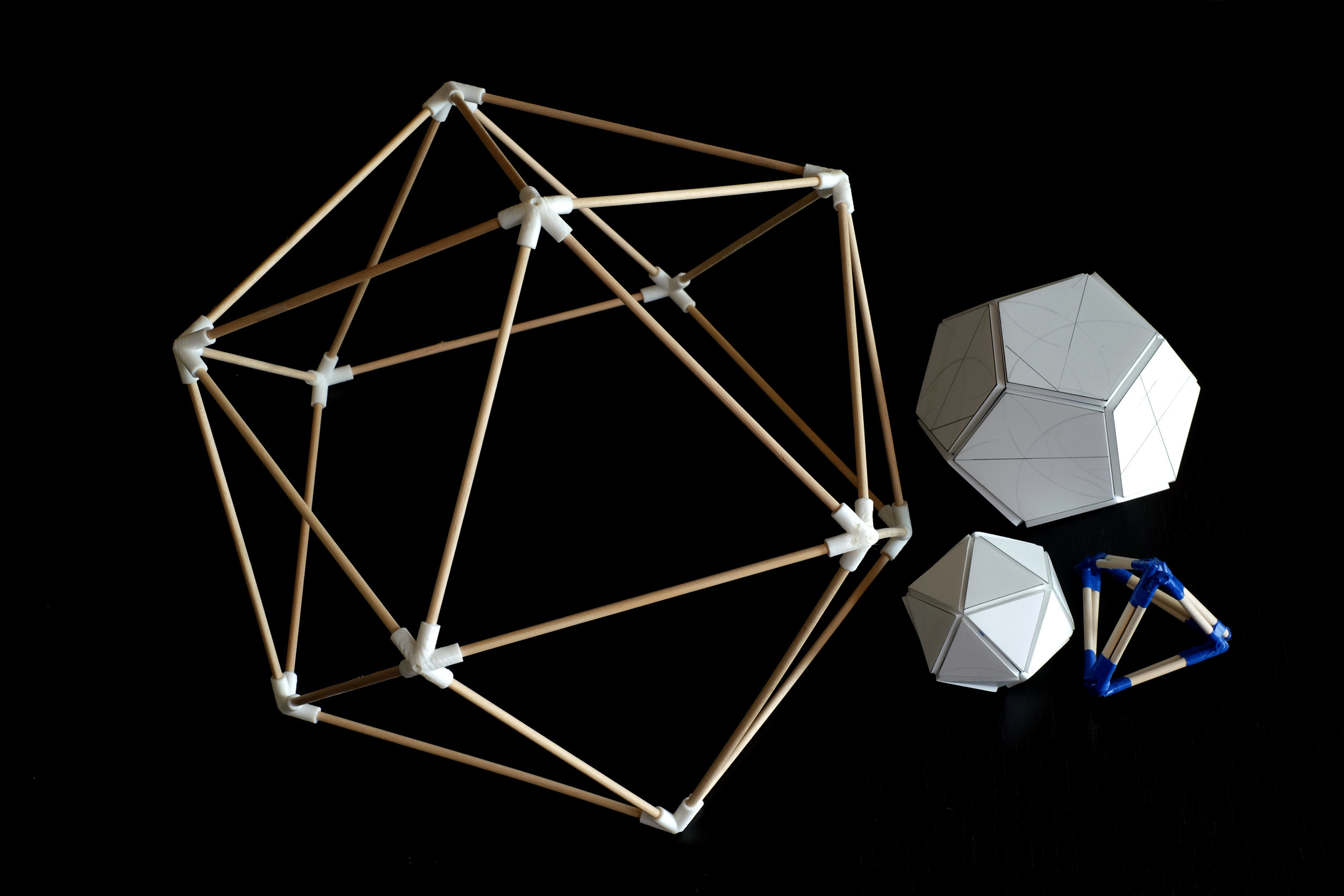 Study 1: A tape + foam board icosahedron and dodecahedron, a tape and dowel tetrahedron, and a large icosahedron with 3D-printed connectors