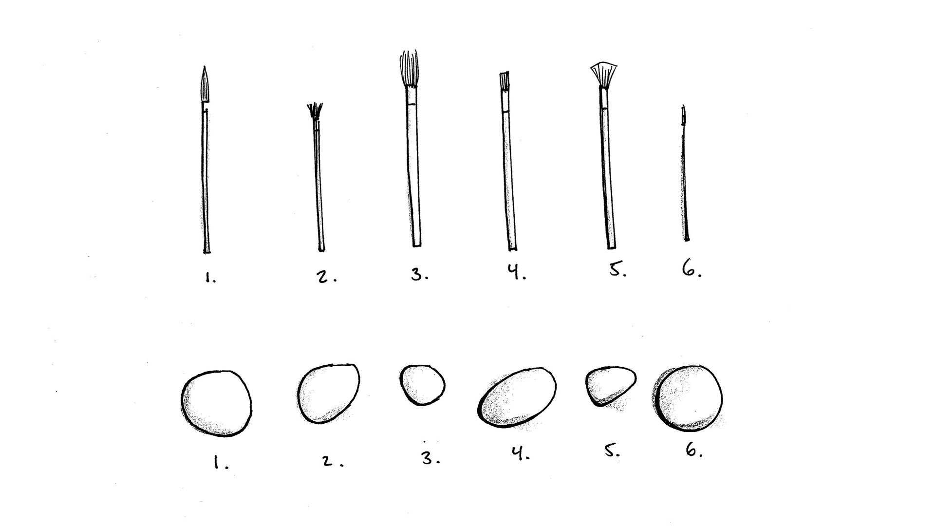 An example of John Cage's numbered brushes and stones