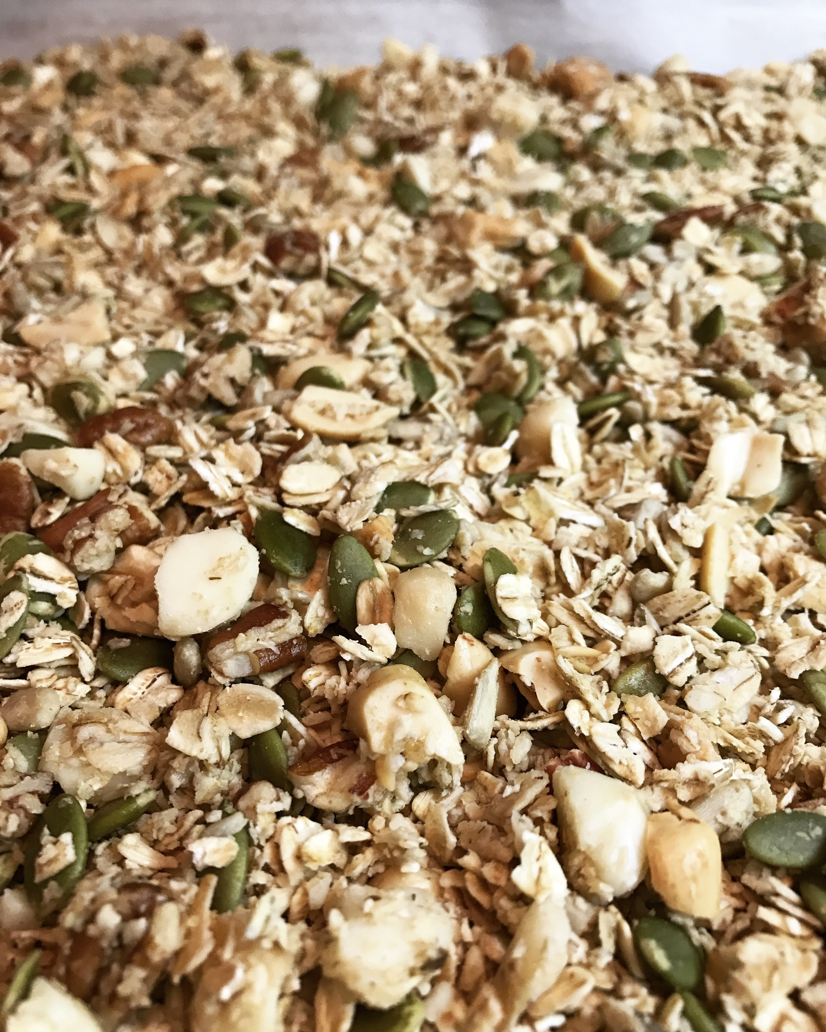 HOT TIP: Granola smells like burnt popcorn is overcooked. So I've heard ;)