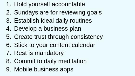 Productivity Goals Summary