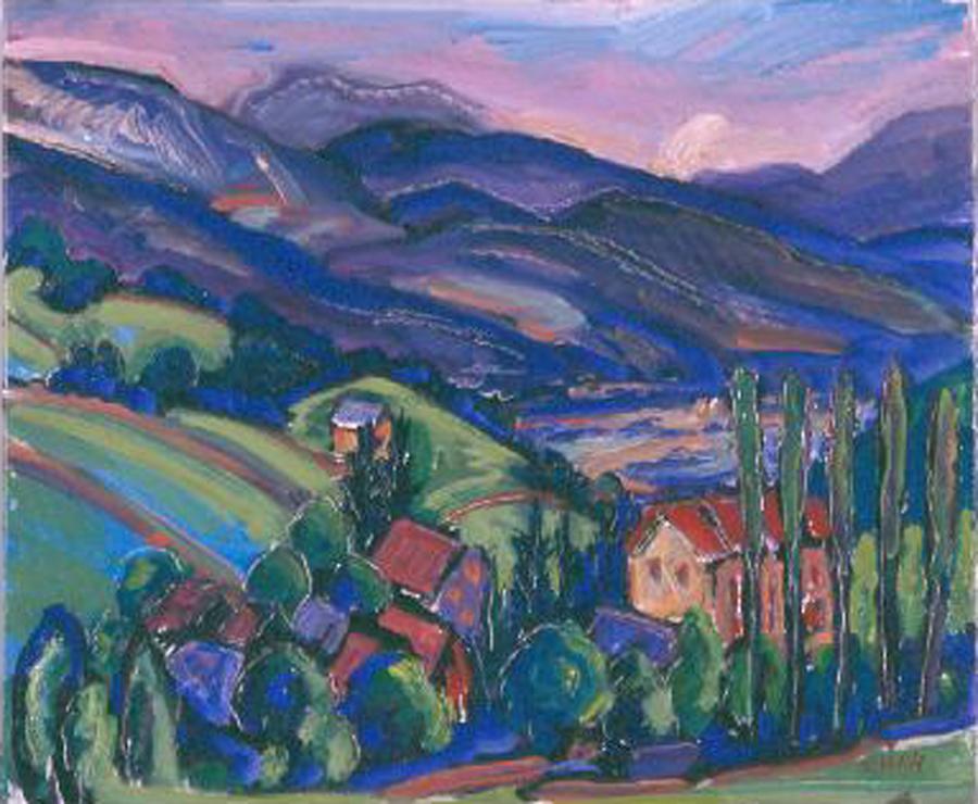 "Jeffrey Hessing  Mountain Village  Oil on canvas 18 x 22"" JH289"