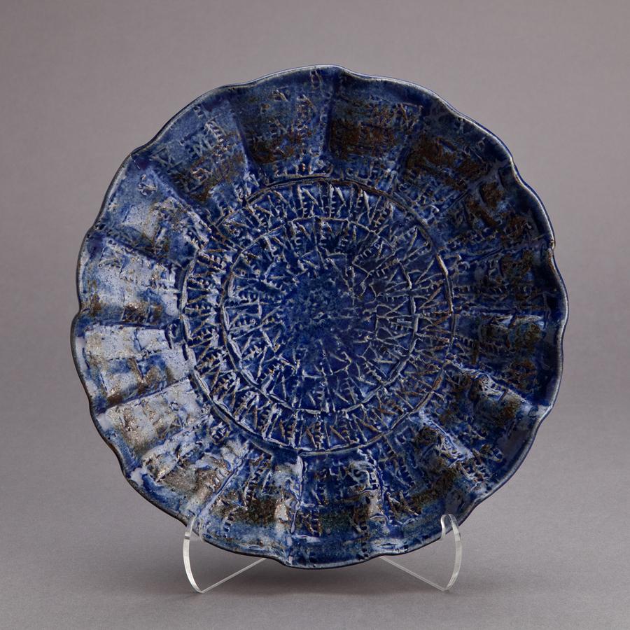"Makoto Yabe  Shallow bowl with mishima pattern, blue wood ash glaze and white slip  Stoneware 2.75 x 10 x 10"" MY96"