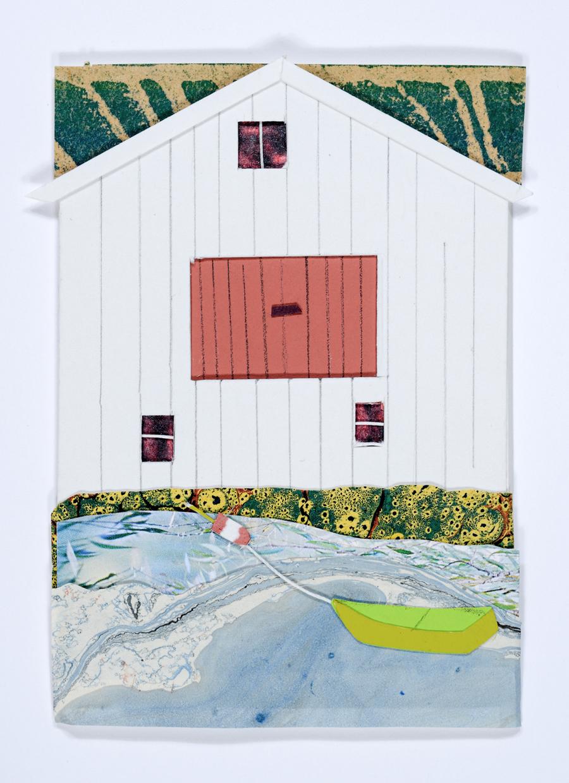 "Judith Stoddard King  High Tide  Collage image: 3.75 x 3""; mat: 12 x 10"" JK232"