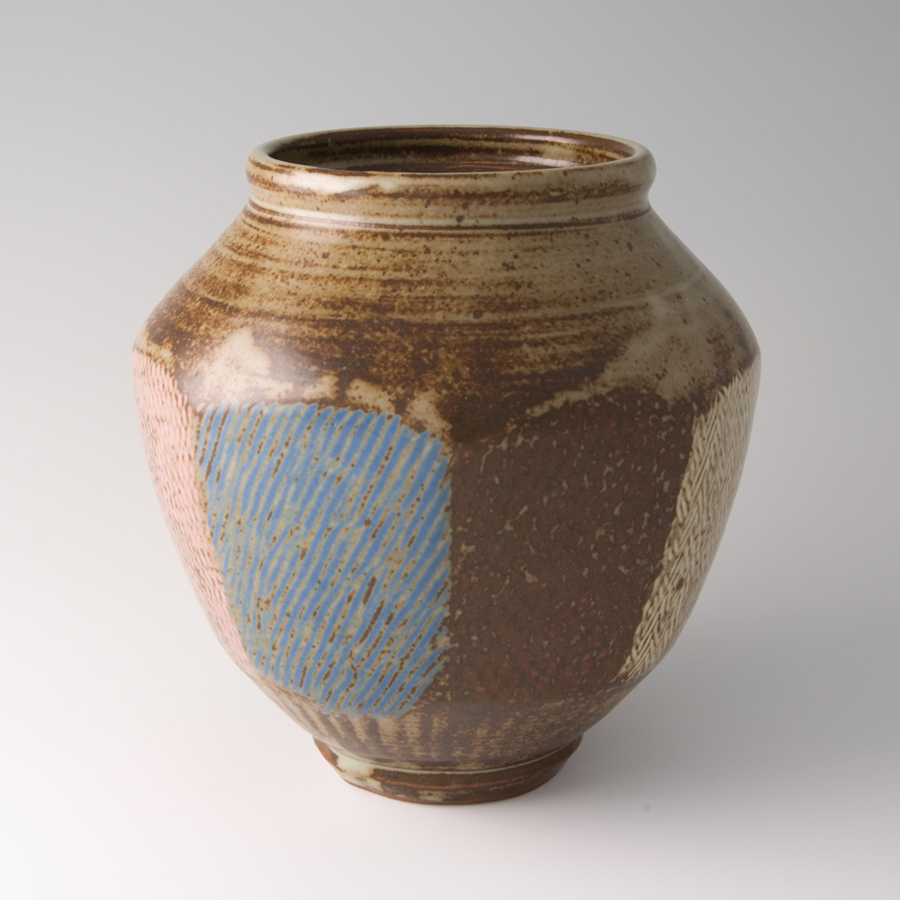 "Tatsuzo Shimaoka  Faceted jar, rope and slip inlay with ash glaze  Stoneware 8.5 x 7.75 x 7.75"" 73 with wooden box"