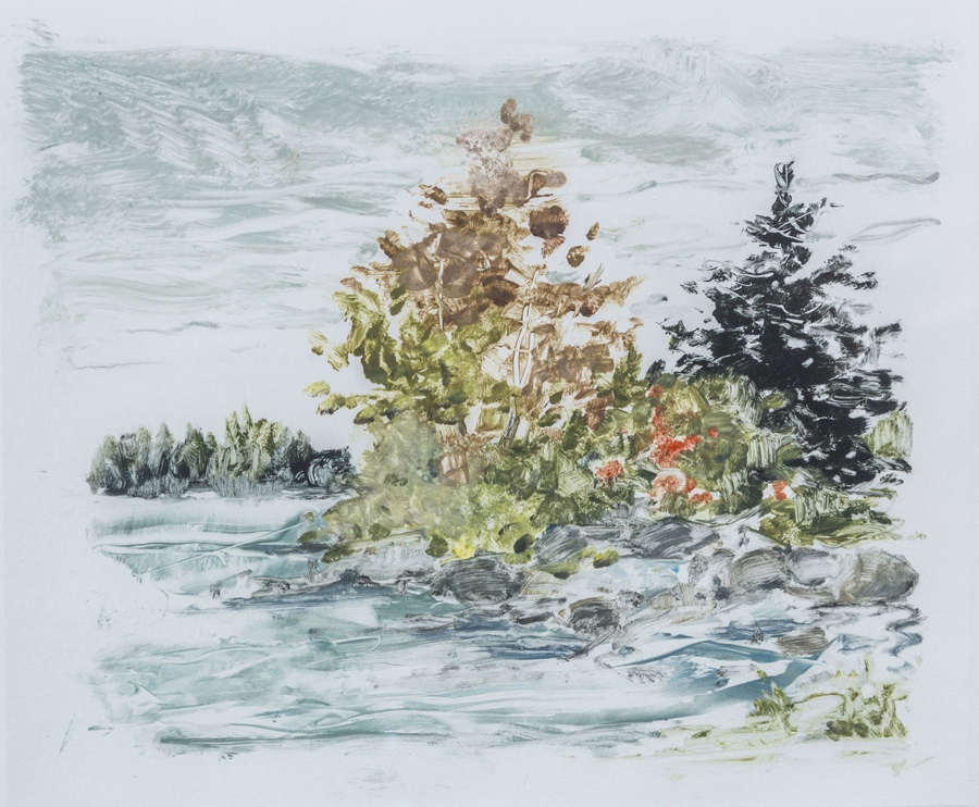 "Marguerite Robichaux  Pond in the River  Monotype on paper 9.5 x 11.25"" MR262"