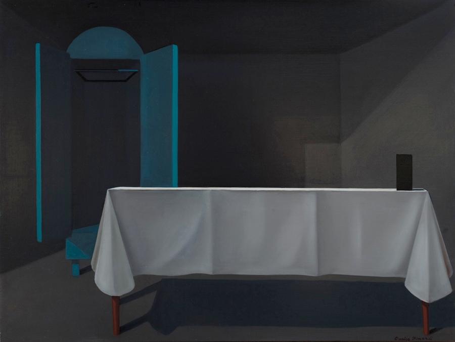 "Enrico Pinardi  Black Box  Oil on board 18 x 24"" P214"