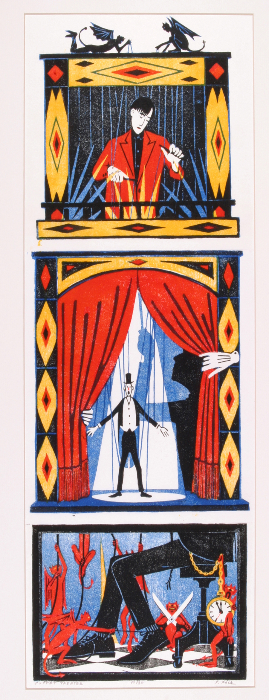 """Pat Keck  Puppet Theater (Triptych)  Woodblock print on rice paper in hand painted frame, 20/30 29 x 15.75"""" PK14"""