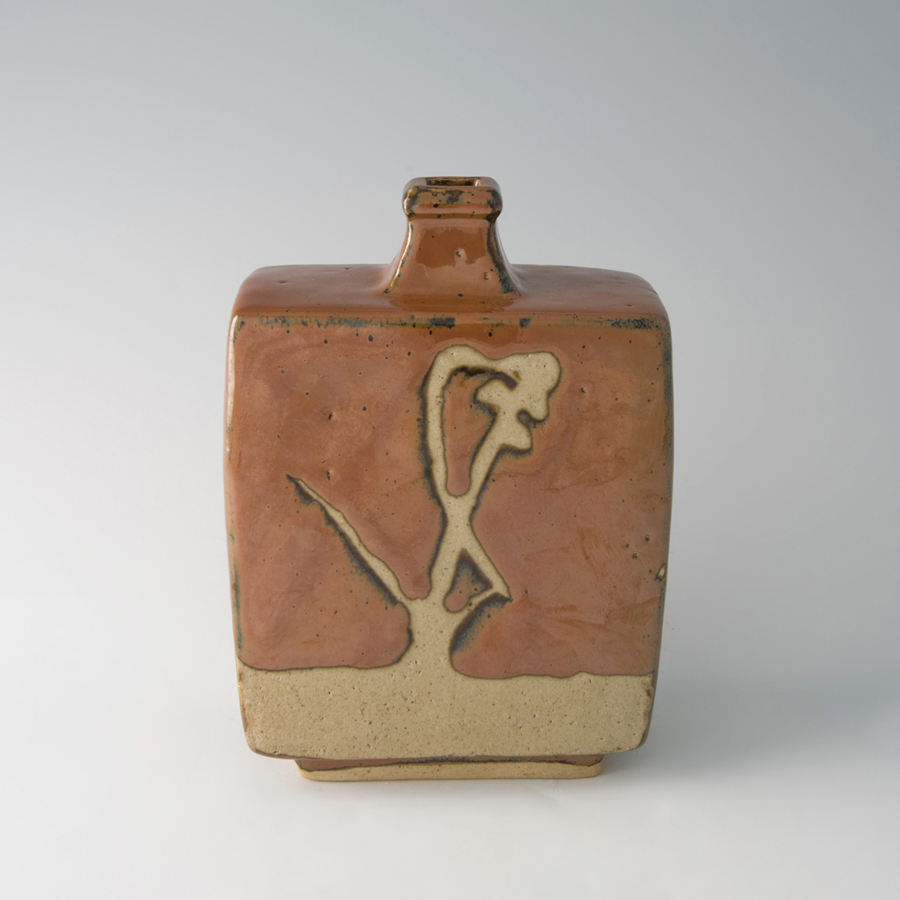 "Shoji Hamada  Squared bottle, kaki glaze with wax resist brushwork  Stoneware, with wooden box 8.25 x 5.75 x 3"" H41"