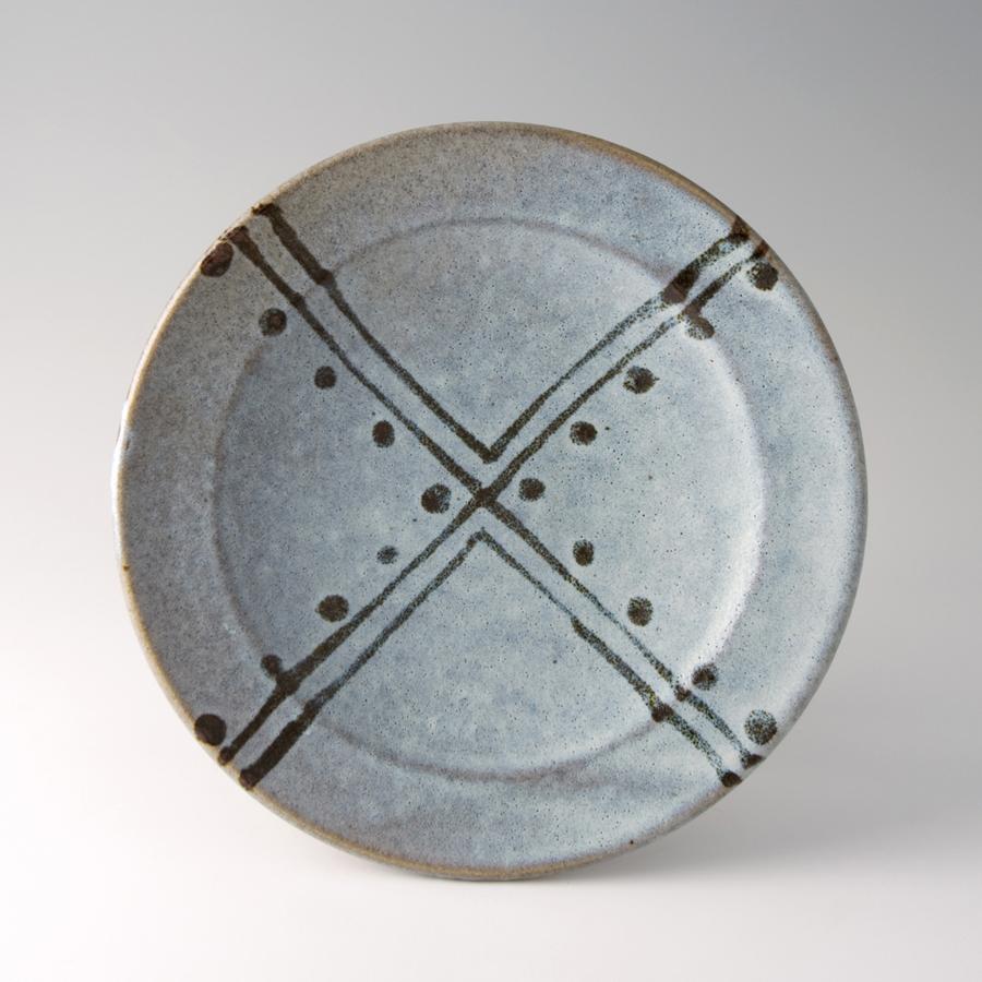 "Shinsaku Hamada  Plate, white glaze with tensue decoration  Stoneware 1.5 x 11 x 11"" HS38"