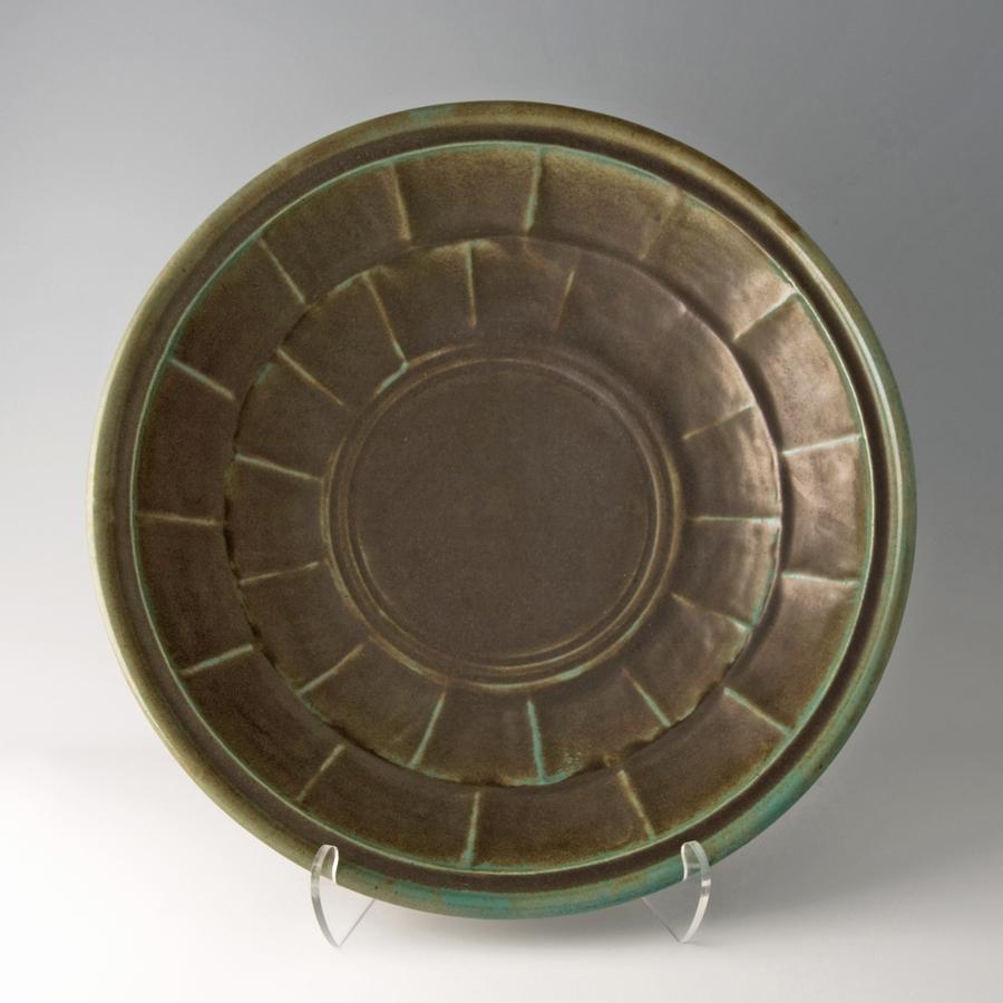 """Shinsaku Hamada  Large plate, celadon glaze  Stoneware 5 x 19.5 x 19.5"""" HS1"""