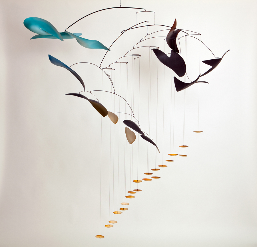 """Mark Davis  Reverberating Gravity  Hanging mobile in brass and aluminum with steel wires, oil and acrylic colors and 23K gold leaf 68 x 55 x 58"""" MD622"""