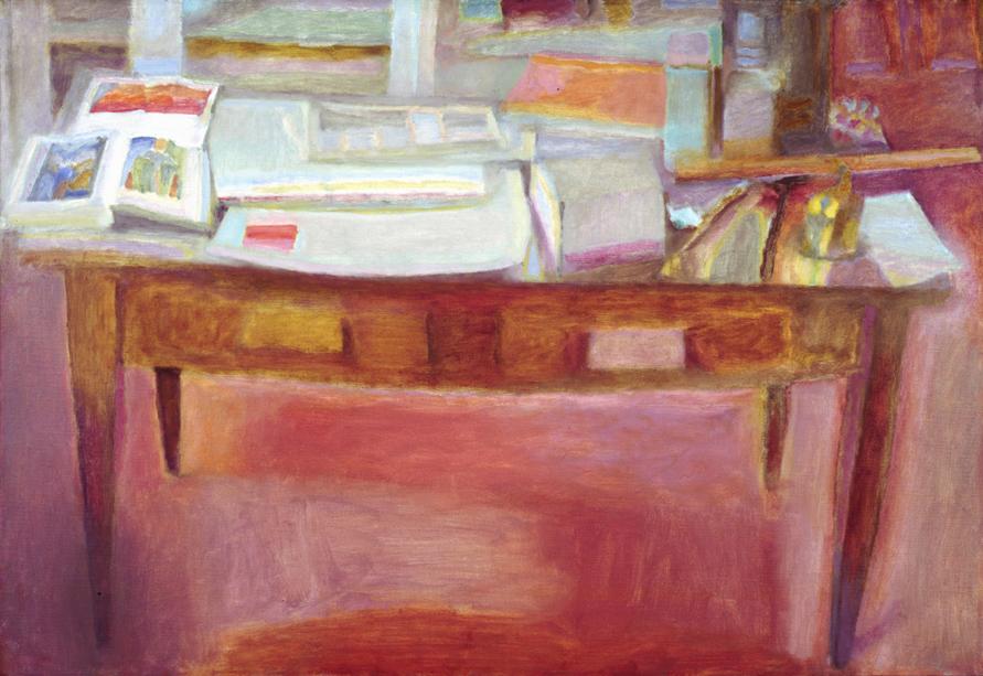 "Joseph Ablow  Studio Table I – Amherst  Oil on canvas 30 x 44"" JA5 (DT)"