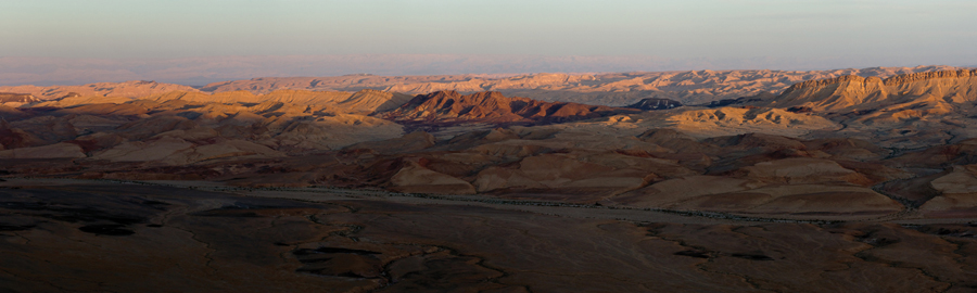 "Bill Aron  Mitzpeh Ramon at Sunset, the Negev  Archival inkjet print on Epson Ultra Smooth Fine Art paper, 3/18 11.5 x 36"" AB30"