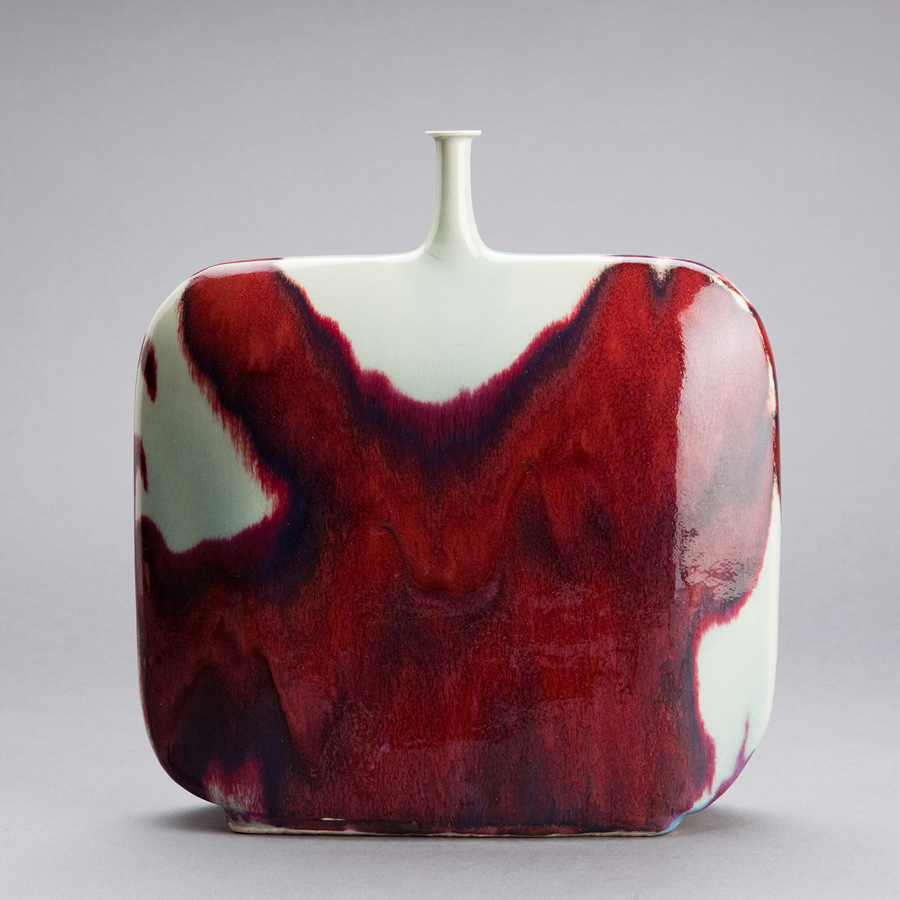 "Brother Thomas Bezanson  Flask Form Vase, Copper Red Glaze  Porcelain 14.25 x 13 x 3"" TH1452B"