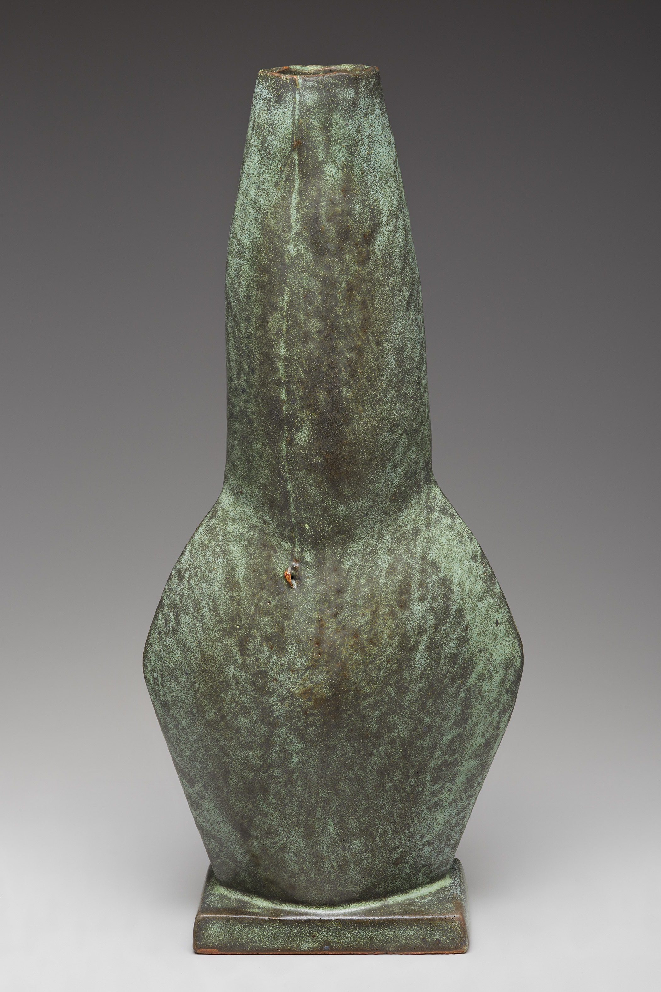 "Randy Johnston  Figurative vase, copper green glaze  Stoneware 19.5 x 8.5 x 6"" RJ608"