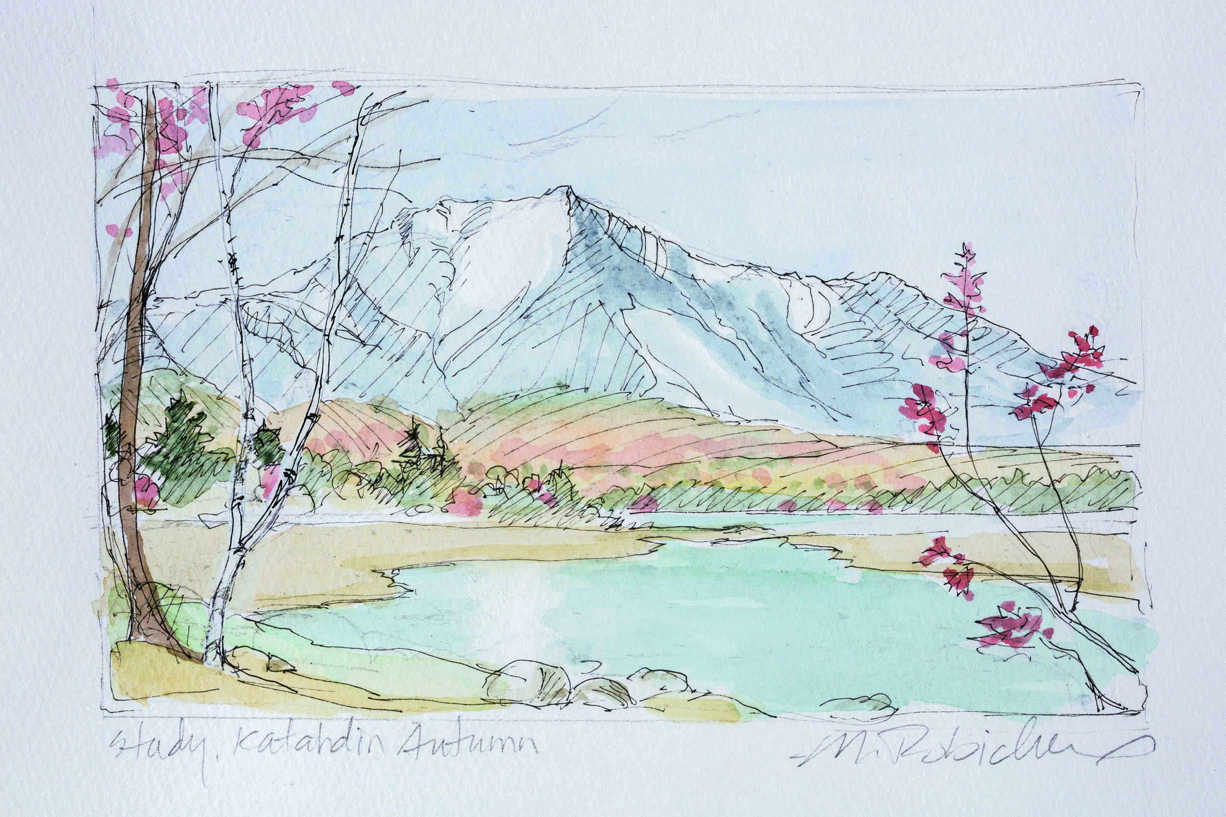"Marguerite Robichaux  Study for Katahdin Autumn  Watercolor, graphite, and ink on paper 4 x 6.5"" MR306"