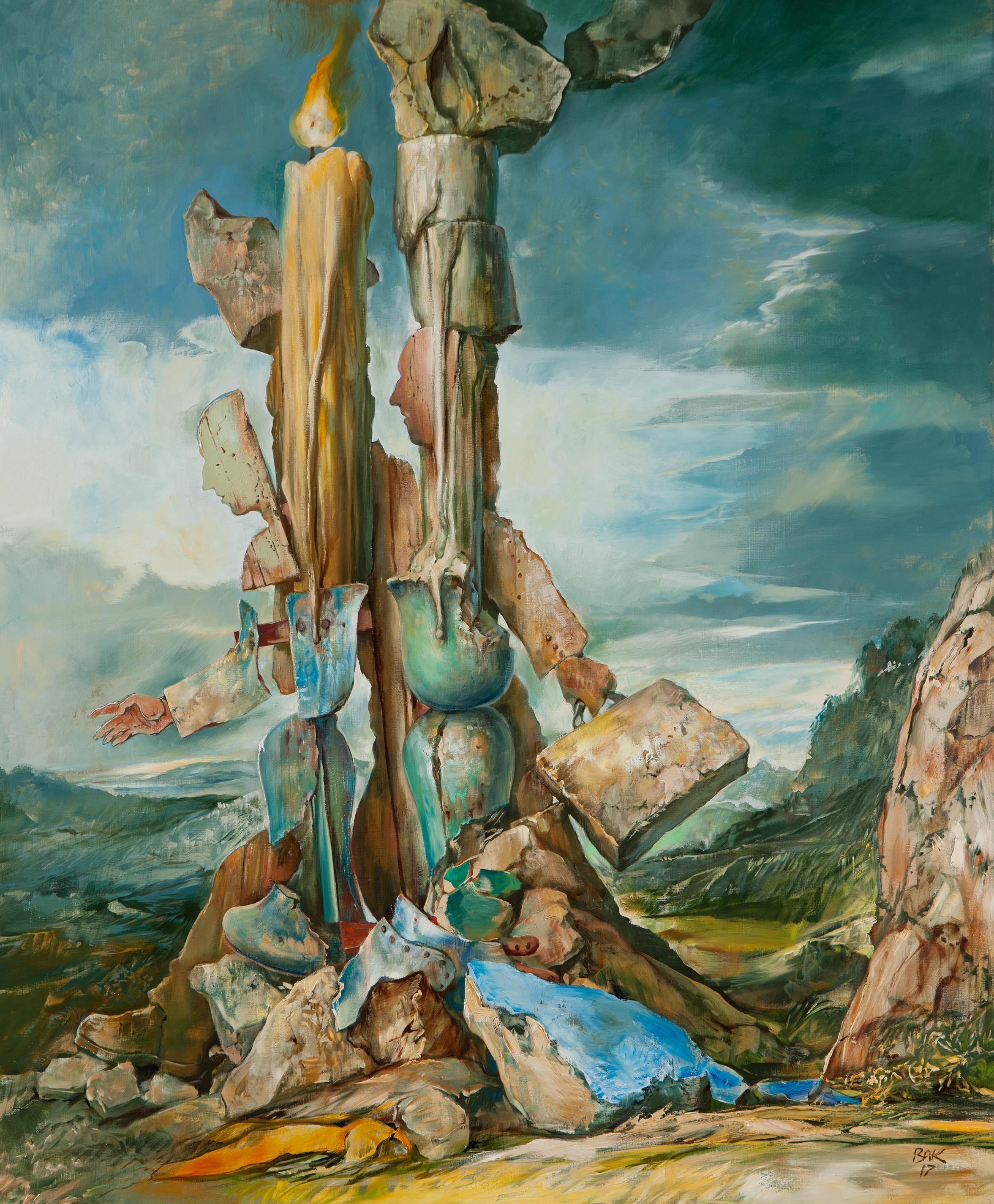 """Samuel Bak  Passing  Oil on canvas 36 x 30"""" BK2148"""