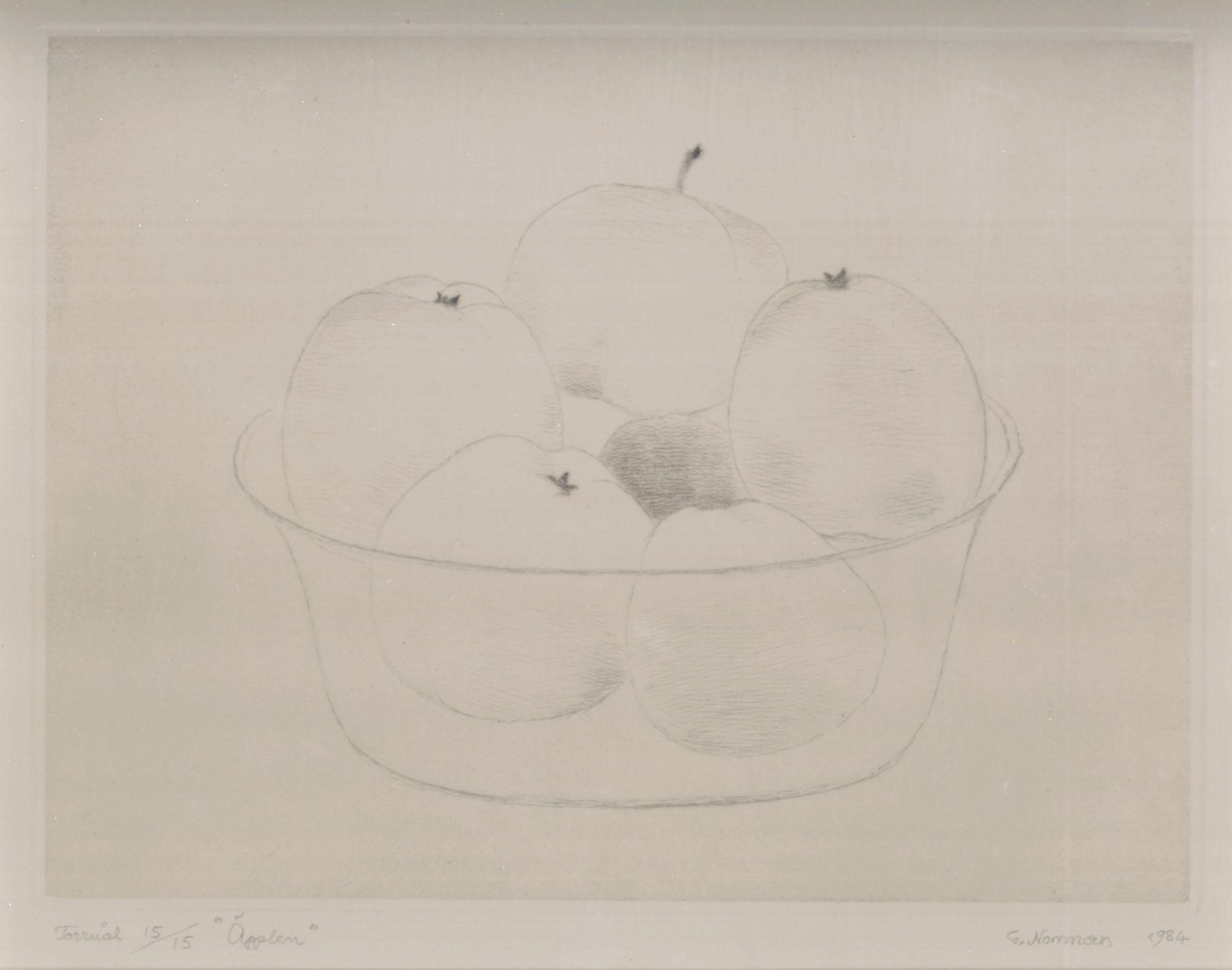 "Gunnar Norrman  Applen (Apples)  Drypoint 6 x 7.5"""