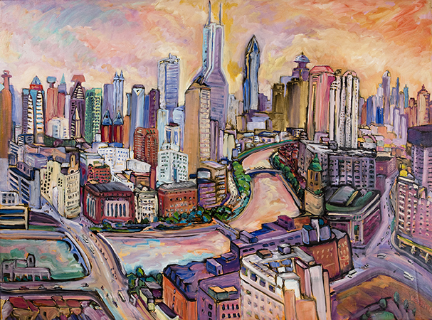 """Jeffrey Hessing  A Gentle City  Oil on canvas 38 x 50.75"""" JH778"""