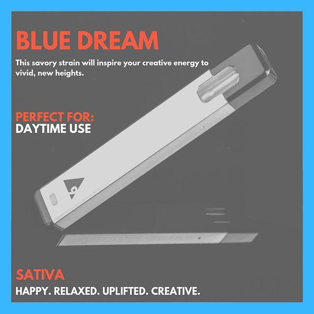 STRAIN OF THE DAY: Blue Dream 💙  Daytime use ✔️ Creative Vibes ✔️ Euphoric ✔️ #onepuff #onepuffvape #cannabiscommunity
