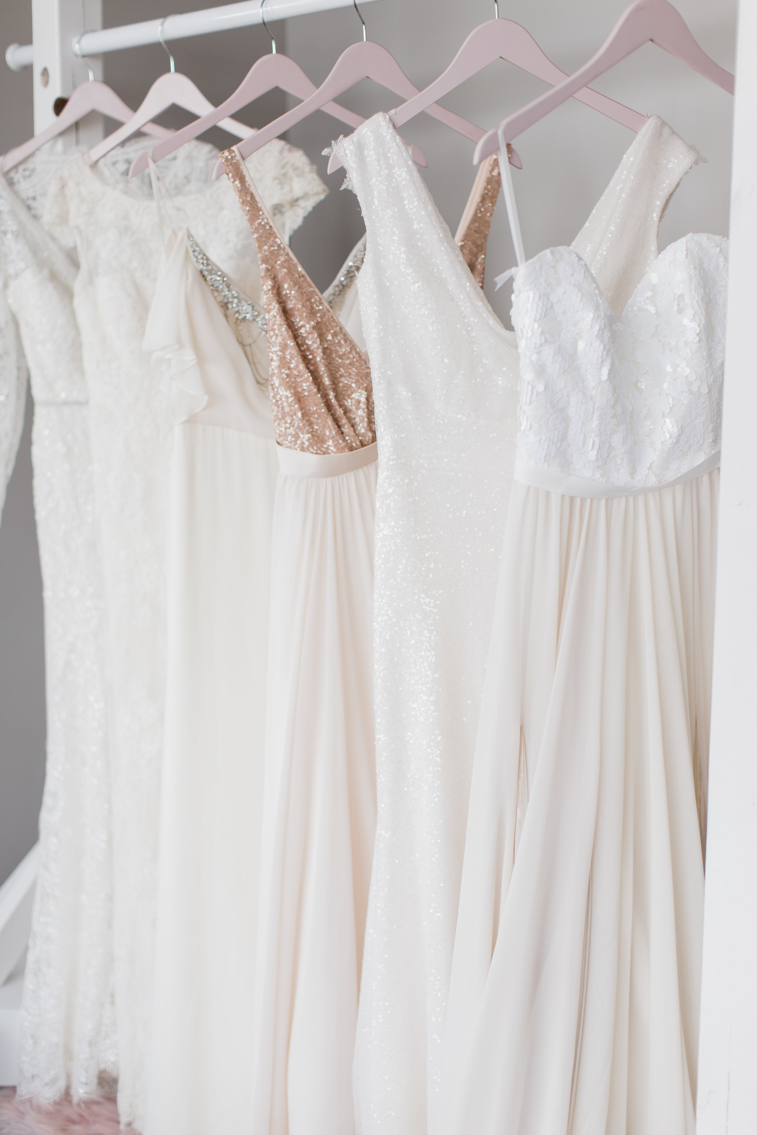 - Brides love us for our designer discounted wedding gowns ranging in price from $500-$3700. (Almost all are under $2500.) Most bridal stores only sell their samples at special sales twice a year, but S&S lets our brides experience sample sale prices everyday!We are perfect for a bride with a short amount of time before her wedding! Our gowns are off-the-rack and ready to go home with you.