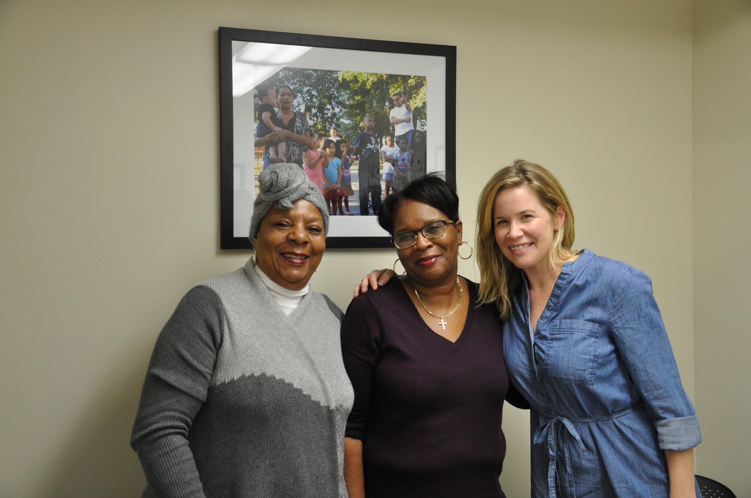 MJE Volunteer Lola Alexander, MJE Founder Monalisa Smith and writer Andrea Cale at MJE's headquarters in Roxbury, Mass.