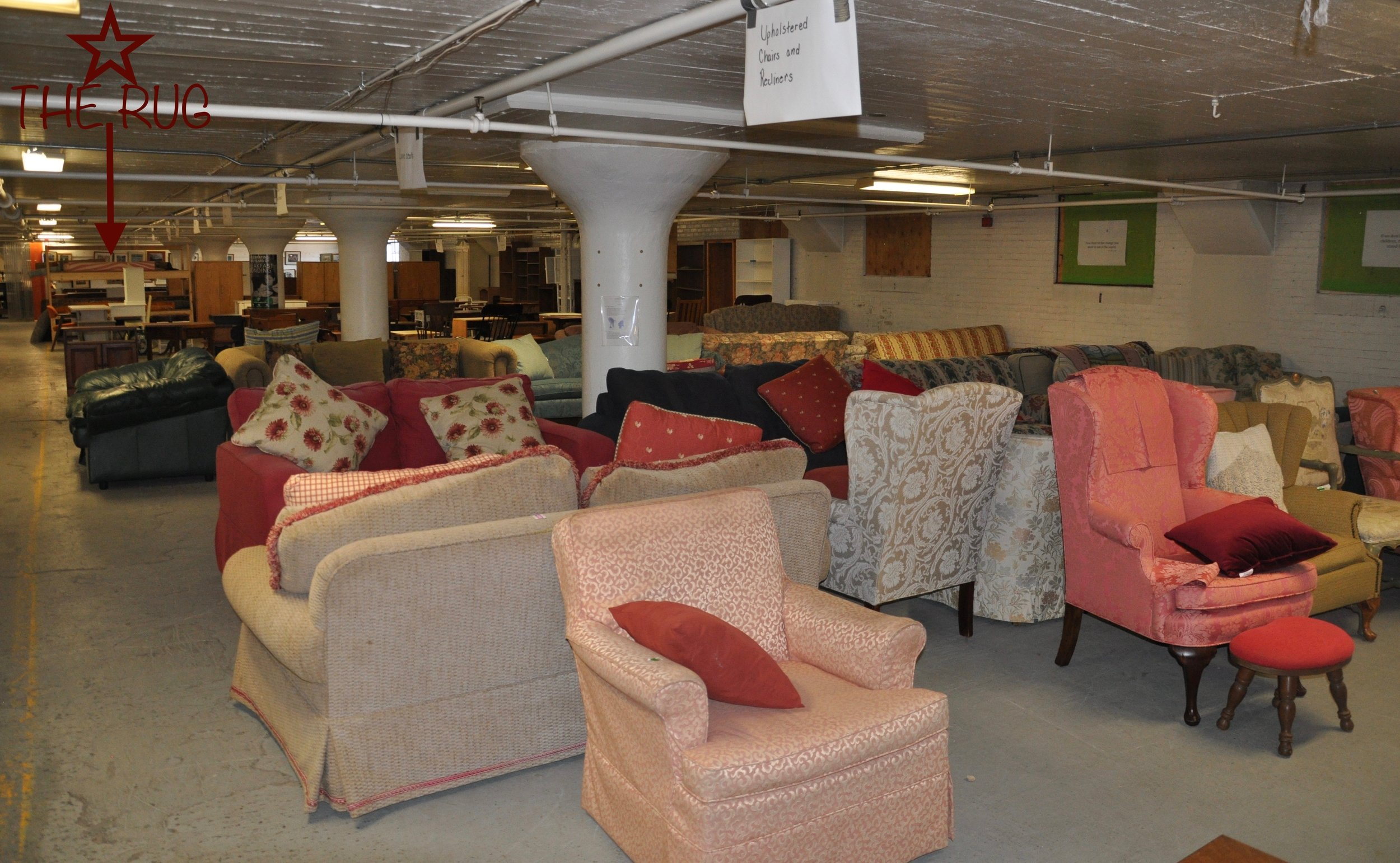 These furniture donations, including the rug mentioned in this story, are given at no cost to families and individuals recovering from homelessness.