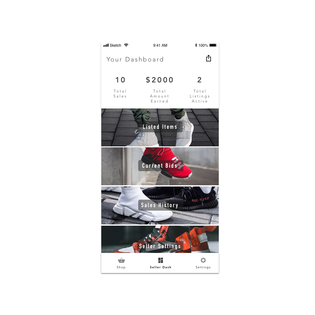 LIMITS - In this app concept, the user able to purchase and sell sneakers at their own leisure. In the following example, I have focused on the process of purchasing a first sneaker.