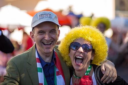 Italian Consul Dottor Mauro Battocchi clowns if up with Lua at the Italian Heritage Parade.